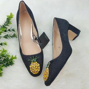 ZARA Denim Pineapple Embellished Heels